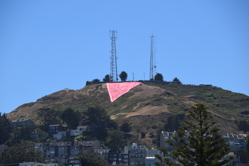 The Pink Triangle atop Twin Peaks, San Francisco Pride